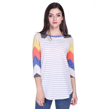 Fancyleo Women's Stripe Stitching Sleeve Sleeve Tops Stripes T-Shirt Loose Thin Creative Stripe Design Fashion New -