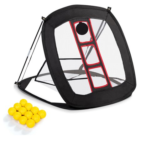 Gymax Portable Pop Up Golf Chipping Hitting Net W/12 Foam Training Balls Carrying (Callaway Tri Ball Hitting Net Assembly Instructions)