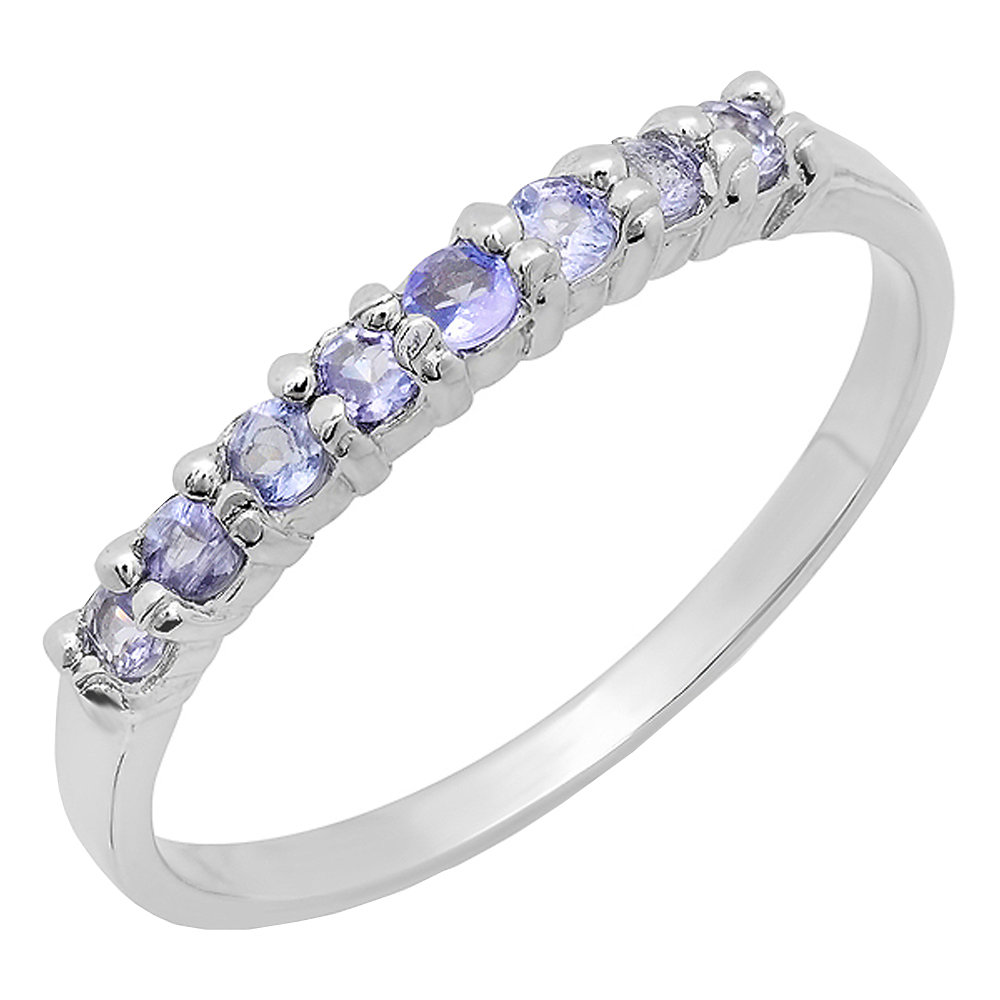 0.30 Carat (ctw) Sterling Silver Round Cut Tanzanite Ladies Wedding Band Anniversary Ring 1/3 CT