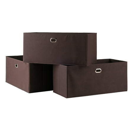 - Torino 3-Pc Set Folding Fabric Baskets Chocolate