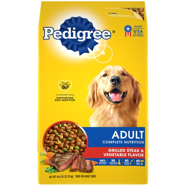 PEDIGREE Complete Nutrition Adult Dry Dog Food Grilled Steak & Vegetable Flavor, 46.8 lb. Bag