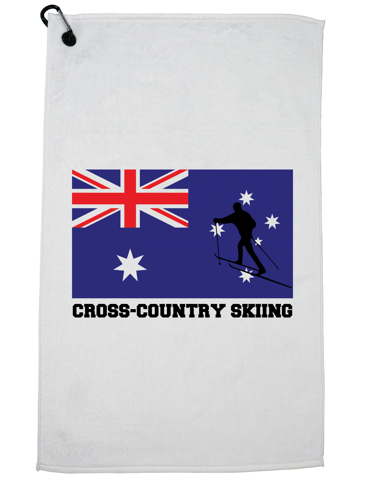 Australia Olympic Cross Country Skiing AUS Flag Silhouette Golf Towel with Carabiner Clip by Hollywood Thread
