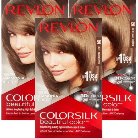 Color Ash Brown ((3 Pack) Revlon ColorSilk Beautiful Color 50 Light Ash Brown Permanent Hair Color, 1 application)