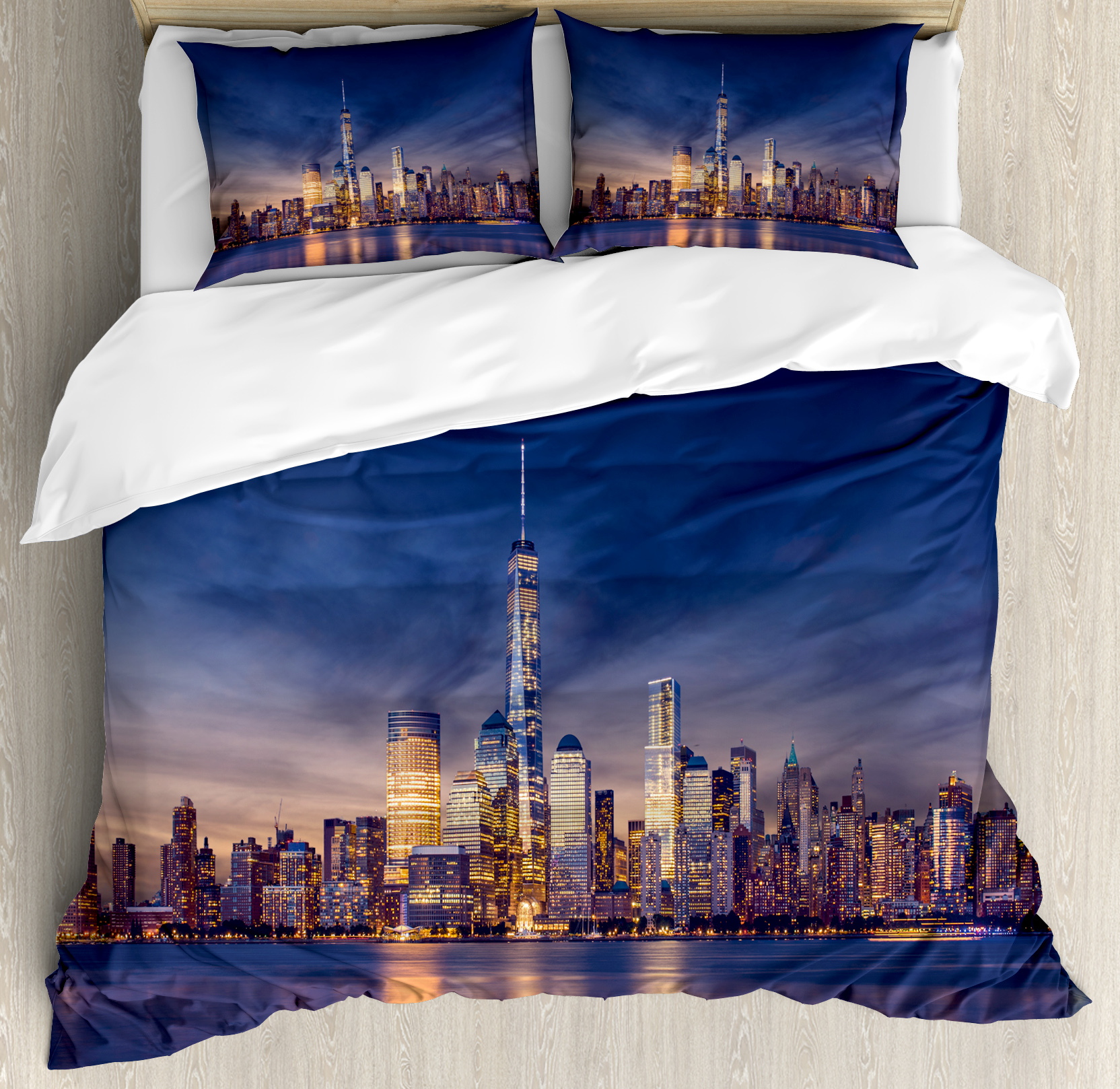 City King Size Duvet Cover Set, New York Skyline Manhattan After Sunset Metropolis Downtown Urban Panorama USA, Decorative 3 Piece Bedding Set with 2 Pillow Shams, Navy Blue Peach, by Ambesonne