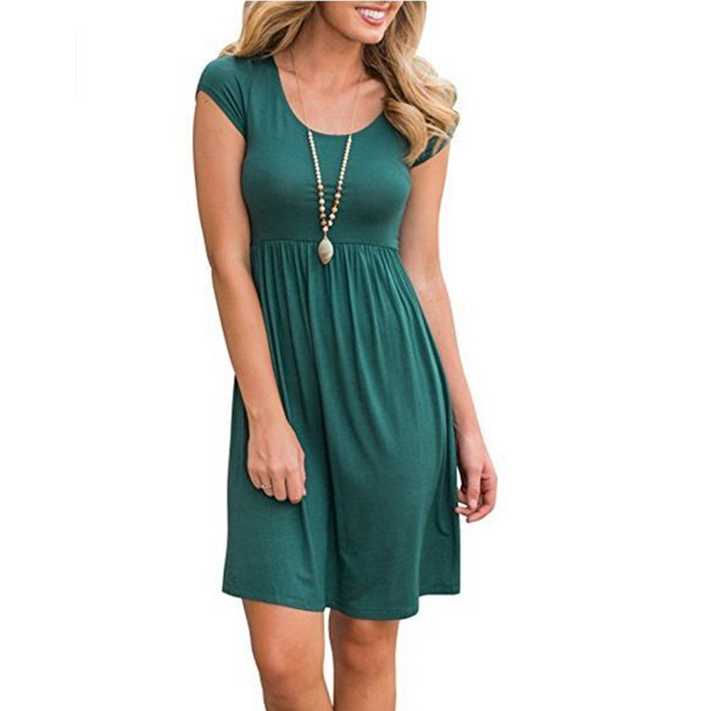 10 Colors Short Sleeve Solid Color Women Casual Mini Dress by