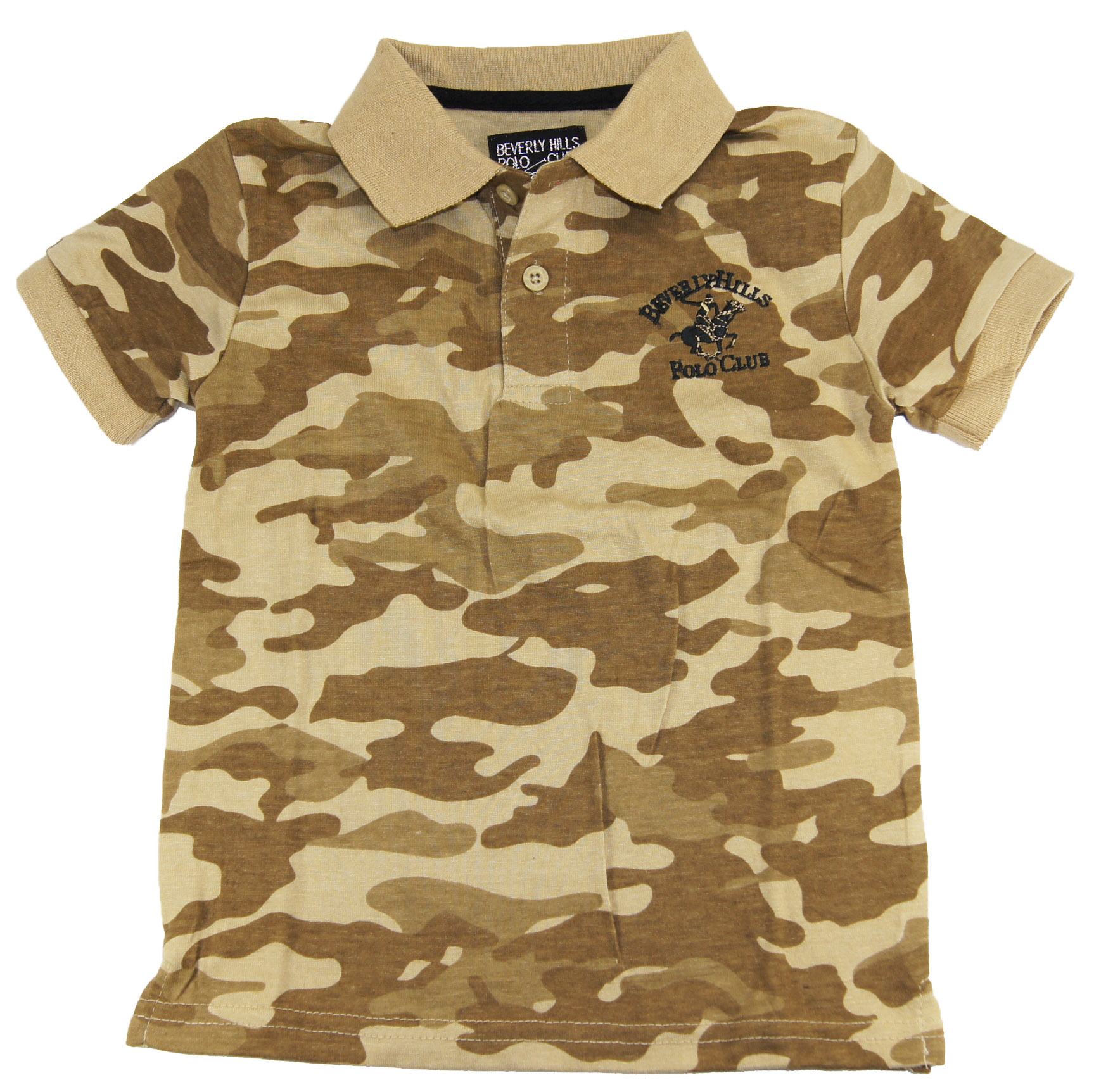 Beverly Hills Polo Club Little Boys' Khaki Twill Camo Military Polo Shirt