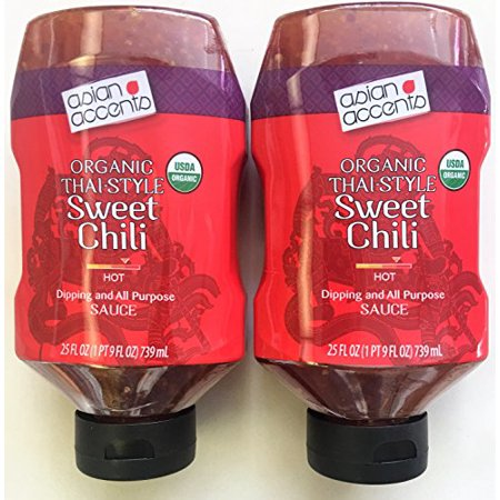 (Asian Accents Organic Thai Style Sweet Chili Sauce - Slightly Hot - Pack of Two 25 oz Squeezable)