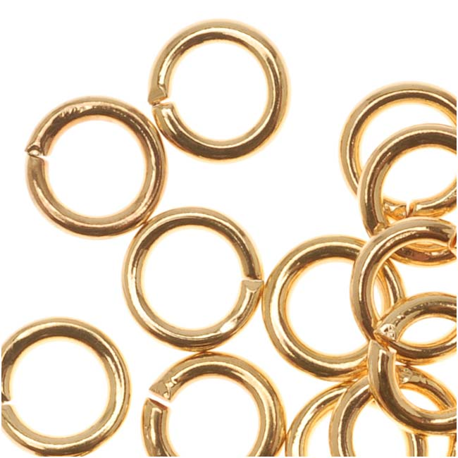 22K Gold Plated Open 5mm Jump Rings 19 Gauge (50)