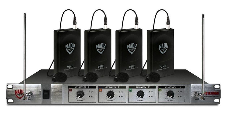 Nady 401X Quad LT U Wireless Microphone System w 4 Lavaliere Mic by Nady