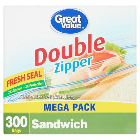 Great Value Double Zipper Sandwich Bags Mega Pack  300 Count