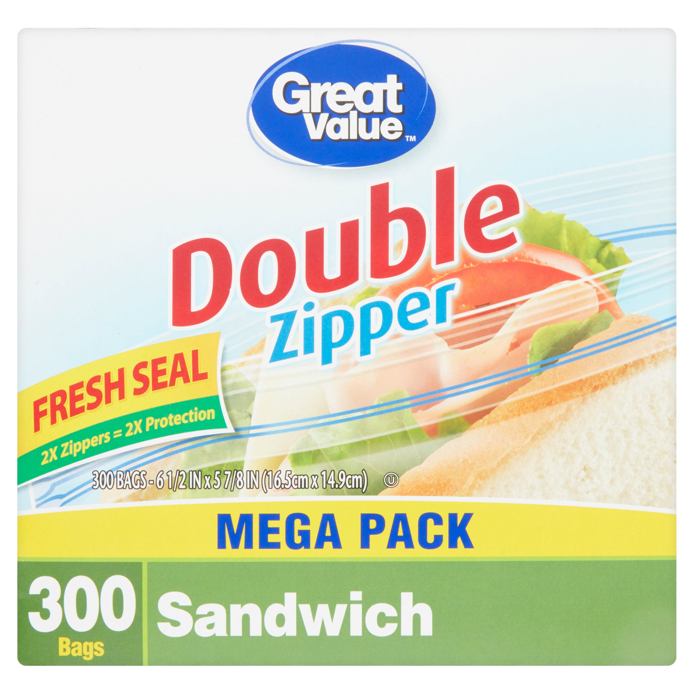 Great Value Double Zipper Sandwich Bags Mega Pack, 300 count