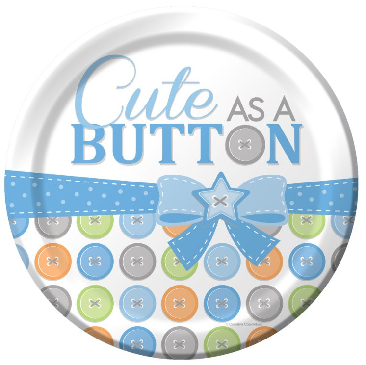 Cute as a Button Boy 9 inch Lunch/Dinner Plates (8 ct)