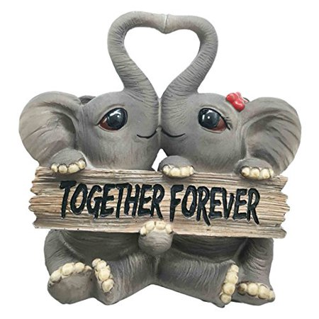 Heart Shaped Cherub - Forever And Ever Elephant Couple Lovers With Heart Shaped Trunks Figurine Collectible