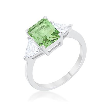 Brilliant Cut Peridot Ring - Rhodium Plated Classic Engagement Ring With 4.5ct Peridot Radiant Cut And Trillion Cut CZ Size 5