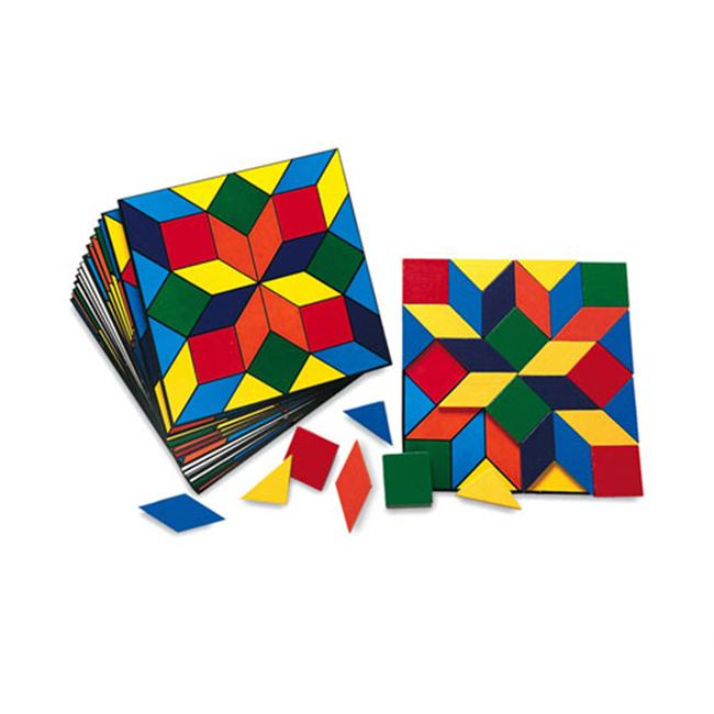 LEARNING RESOURCES LER0289 PARQUETRY BLOCKS SUPER SET-20 CARDS 32 WOODEN PIECES
