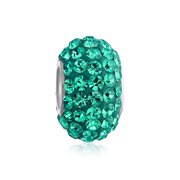 Solid Teal Green Crystal Spacer Charm Bead for Women for Teen Fits European Charm Bracelet Core 925 Sterling Silver