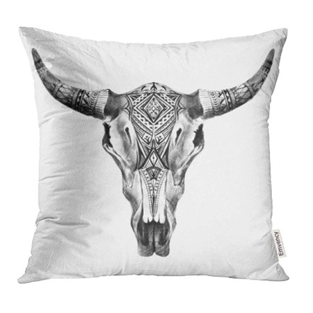 CMFUN Black Bull Aztec Longhorn Skull White Cow Tribal Western American Animals Boho Pillowcase Cushion Cases 18x18 inch