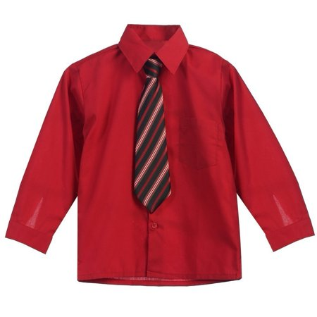 Little Boys Red Stripe Tie Long Sleeve Button Special Occasion Dress Shirt - Boys Red Dress Shirt