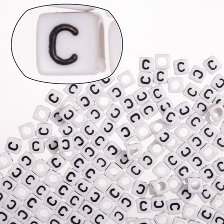 Letter C White Acrylic Cube Alphabet Beads 6mm 50Gram/329pcs/pack (2-pack Value Bundle), SAVE $1