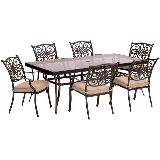 Traditions Dining Set with Chairs & Glass Table - 7 Piece