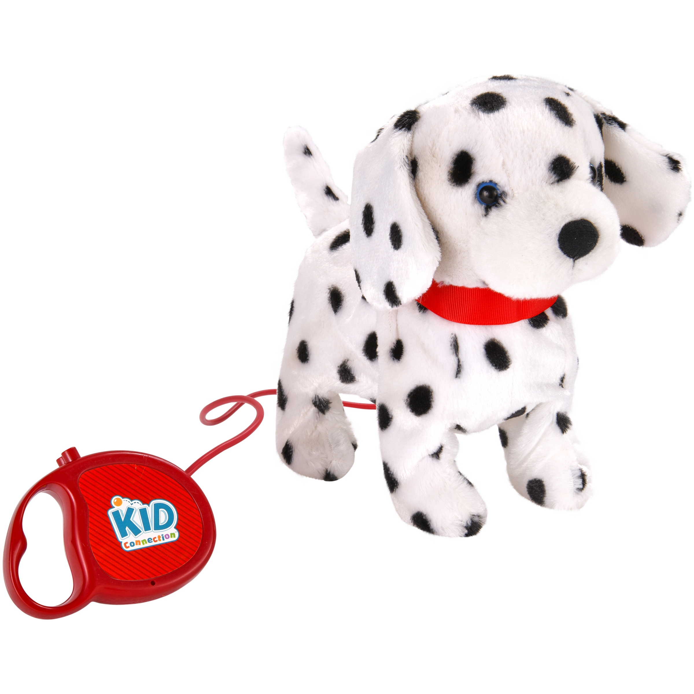 "Kid Connection 9"" Plush Dalmatian Walking Pet, Black & White with Red Collar"