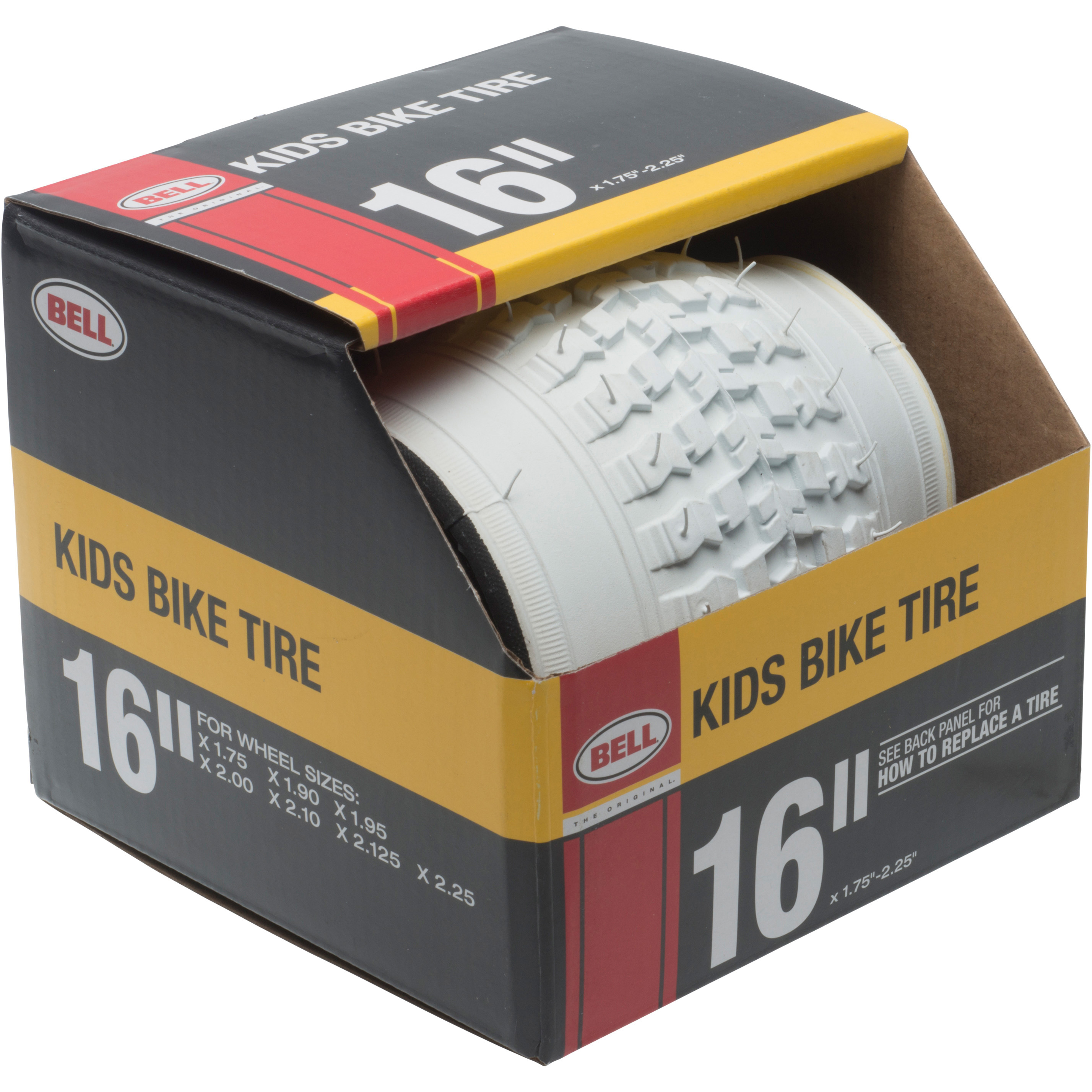 "Bell Sports Standard Kids Bike Tire, 16"" x 1.75-2.25"", White"