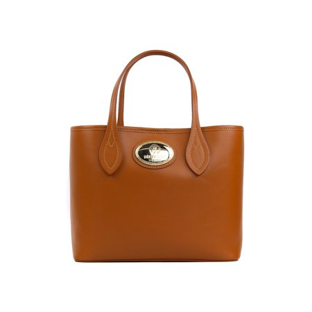 Roberto Cavalli Women's Firenze Cognac Brown Small Leather Shopping Tote Bag