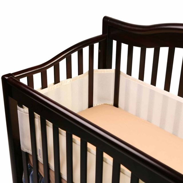 BreathableBaby Breathable Safer Bumper, Fits All Cribs, Ecru Multi-Colored