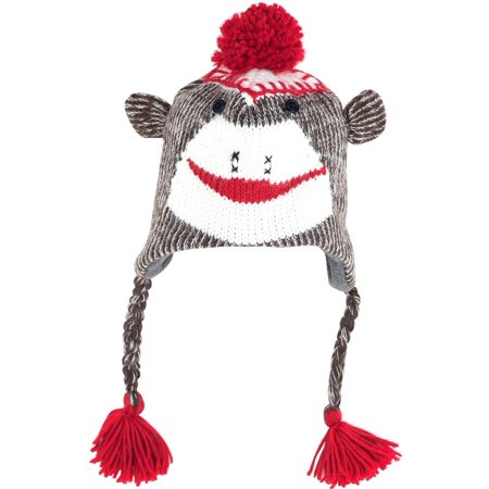 Adult Size Brown Sock Monkey Knit Hat with PolyFleece - Adult Sock Monkey Hat