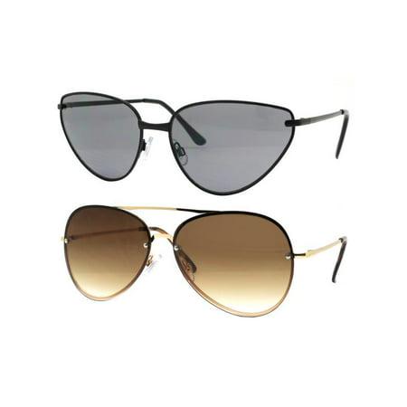 Time and Tru Women's Metal Sunglasses 2-Pack Bundle: Mini Sunglasses and Aviator -