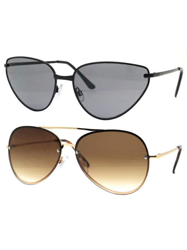Time and Tru Women's Metal Sunglasses 2-Pack Bundle: Mini Sunglasses and Aviator Sunglasses