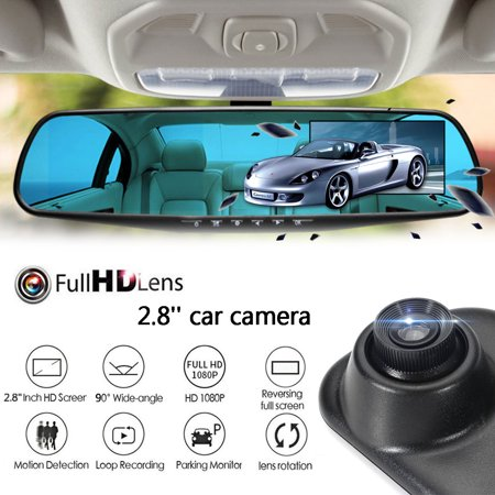 HD 1080P 2.8in LCD Display Screen 90 Degrees Rearview Mirror Dash Cam Camera Video Recorder Night Vision Auto Car Vehicle (High Definition 720p Vehicle Dvr Accident Recorder)