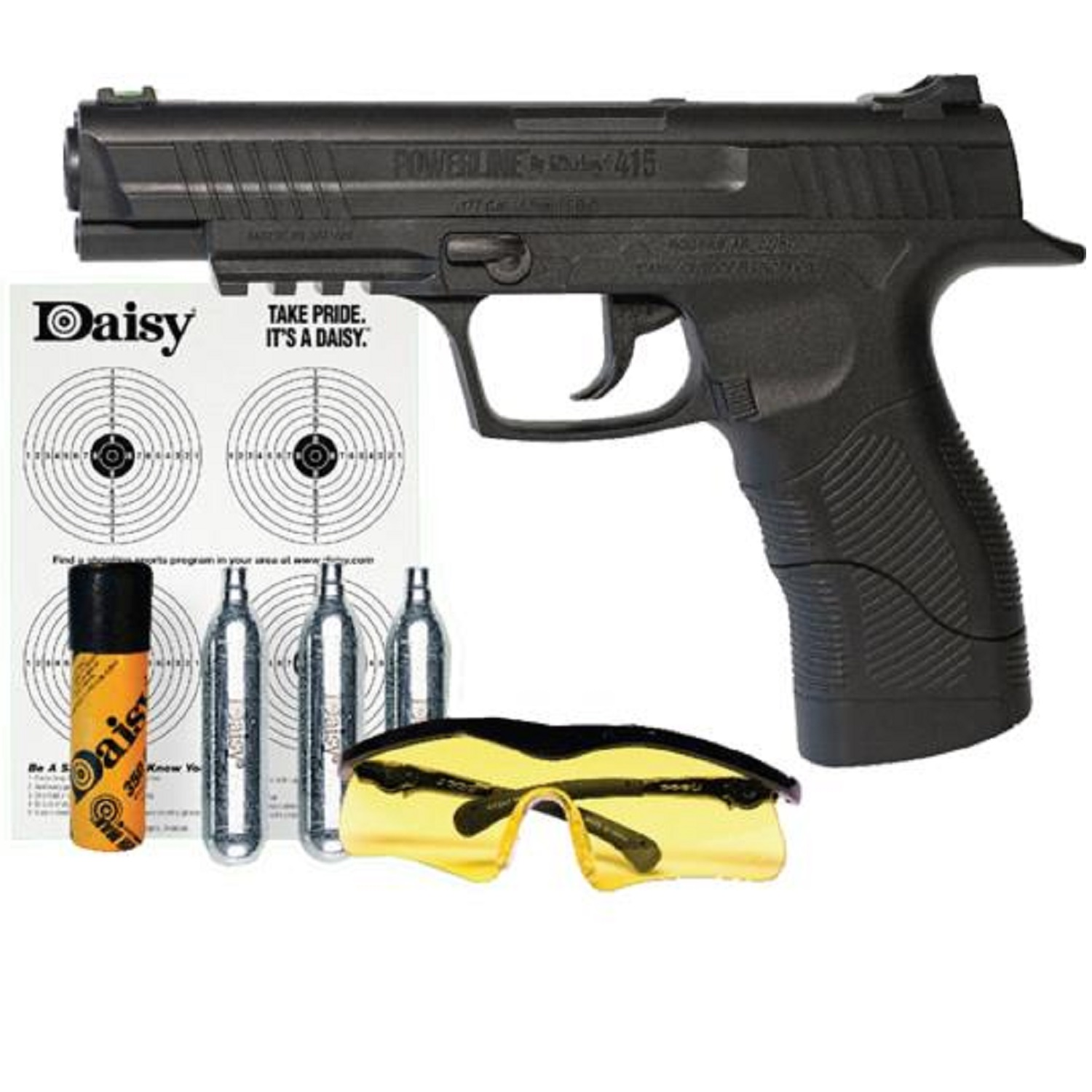 Daisy Powerline 408 Air Pistol Kit, .177 Pellet or BB, Black Finish, Plastic Grip, CO2, Semi-automatic, 8 Shot, 485 Feet by Daisy