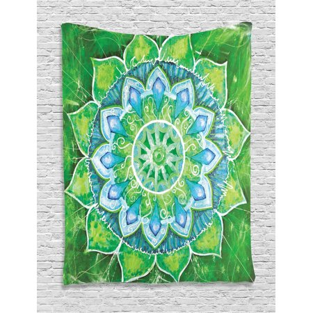 Mandala Decor Wall Hanging Tapestry, Grand Mandala With Leaf Forms Symbol Of Nature And Zen Green Decor Boho Style Print, Bedroom Living Room Dorm Accessories, By Ambesonne ()