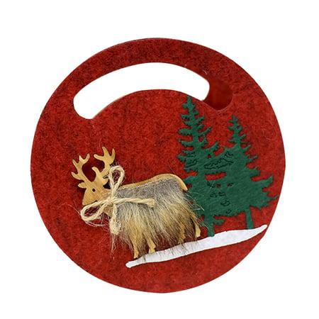 Voomwa Christmas Felt Candy Bag Portable Christmas Elk Pattern Gift Bag Christmas Gift