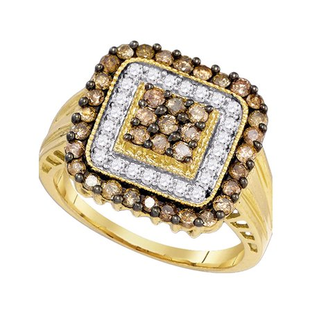 10kt Yellow Gold Womens Round Cognac-brown Color Enhanced Diamond Square Cluster Ring 1.00 Cttw - image 1 of 1