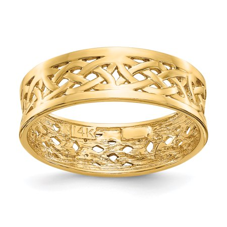 14kt Yellow Gold Irish Claddagh Celtic Knot Wedding Ring Band Size 7.00 Fine Jewelry Ideal Gifts For Women Gift Set From Heart
