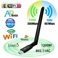 1200Mbps USB WiFi Adapter Dual Band 2.4/5GHz Wireless Network Network w/ Antenna Wi-Fi Antennas USB 3.0 For Desktop Laptop Win XP/7/8/10/Vista/Android,MAC OS10.4,Linux