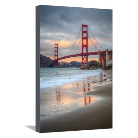 Marshall Beach Sunset and Golden Gate Bridge, California Stretched Canvas Print Wall Art By Vincent James