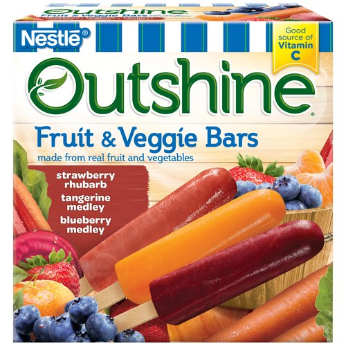 Outshine Fruit & Veggie Bars, Strawberry Rhubarb, Tangerine Medley, Blueberry Medley, 12 ct Box