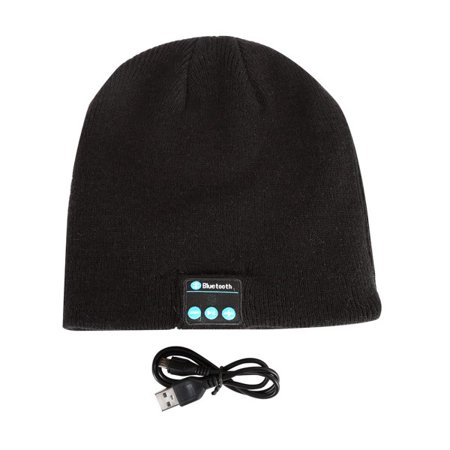 Headsets Speakers Adapters (Mancro Bluetooth Beanie Hat, Wireless Smart Headphone Premium Knit Cap with Speaker & Mic, Unisex Headset Musical Cap,Black)