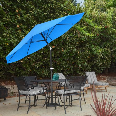 Patio Umbrella with Auto Tilt- Easy Crank Outdoor Table Umbrella Shade for Deck, Balcony, Porch, Backyard, Pool- 10 ft by Pure Garden (Brilliant Blue) ()