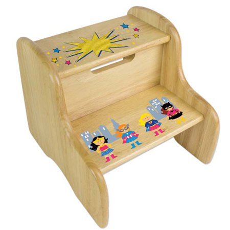 Personalized Girls Superhero Wooden Two Step Stool