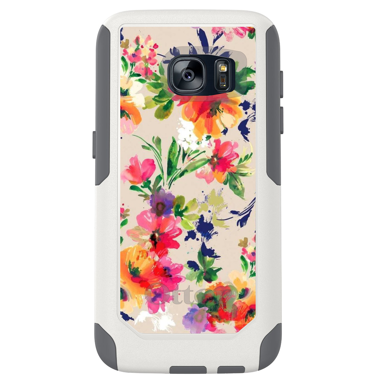 DistinctInk™ Custom White OtterBox Commuter Series Case for Samsung Galaxy S7 - Pink Purple Floral Flowers
