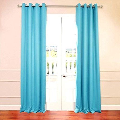 "Amy Solid Thermal Blackout Sun-Reflecting Shiny-Back Grommet Window Curtain 63"" Long Set of Two (2) - Turquoise"