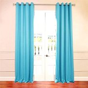 Amy Solid Thermal Blackout Sun Reflecting Shiny Back Grommet Window Curtain 63 Long