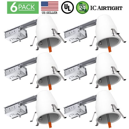 SUNCO 6PK 4 Inch Air Tight Remodel Recessed Lighting Can - IC + UL + Title