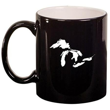 Ceramic Coffee Tea Mug Cup Great Lakes Michigan (Black)