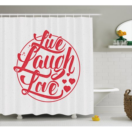 Live Laugh Love Decor Shower Curtain Retro Calligraphy Old Fashioned Stamp Design Red Hearts And