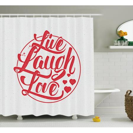 Live Laugh Love Decor Shower Curtain, Retro Calligraphy Old ...